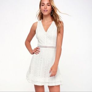Lulu's Love You Always White Lace Skater Dress